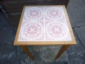 Wooden Side Table with Red Patterned Tiled Top