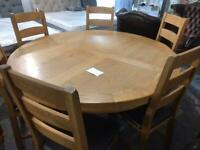 Large oak dining table and 6 chairs