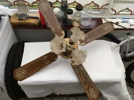 Wood/cane Style Ceiling fan/light