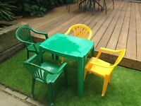 childrens plastic 4 chairs and table
