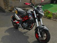 Benelli TORNADO NAKED T 125 , 6 months old, under 200 miles, full warranty ideal for motorhome