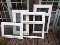 Plastic window frames some glazed assorted sizes
