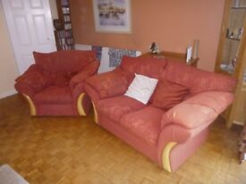2 seater settee & 1 arm chairs. Very comfy. Ochre patterned. Buy together/separately