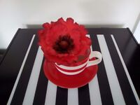 New Large Red Cup and Saucer with Large Poppy