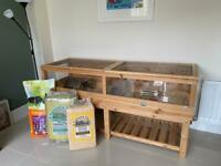 Large Guinea Pig Enclosure Cage with Detachable Stand, Accessories, and Food. Worth over £400.
