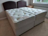 2 Matching Single Divan Beds with Leather Effect Headboards