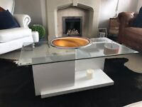 Zoo interiors Glass top coffee table/ white stand.