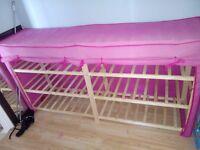 Pink wooden canvas double shelf unit x