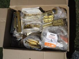 Brass Door Fittings: hinges, latches, locks, knobs, etc (many brand new)