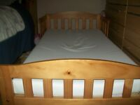 PINE TODDLER BED AND MATTRESS