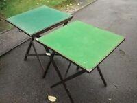 2 x green felt fold out tables ( cards , car boot , etc )