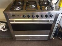 Stainless steel delonghi 90cm five burners dual fuel cooker grill & oven with guarantee