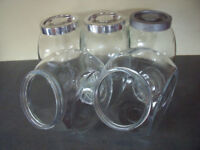 5 tilt & tall Bormioli Rocco, Italy clear glass storage jars. £10 ovno lot or separately as priced