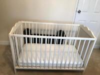 Ikea white Cot with Mattress ( USED )