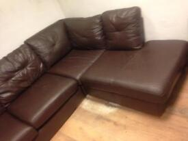 brown leather sofa corner sofa leather used condition only £130 Good bargain