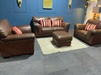 Brown leather 2 tone suite 3 seater sofa and 2 chairs