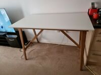 Kitchen / Dining Table - White and bamboo
