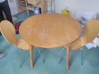 Round Dining table and 2 Chairs