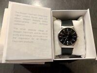 SKAGEN Boxed Mens Black Silver Watch Leather Strap 233XXLSLB RRP £99