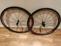 Shimano RS20 Front and Rear Road Bike Wheels 700x23c (front wheel damaged, see description)