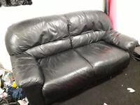 Black leathettte 2 seat sofa