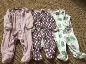 Set of 3 newborn mamas and papas babygrows