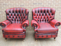 Queen Anne Chesterfield Pair of Ox Blood Armchairs (UK Delivery)