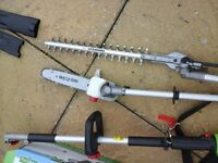 Electric hedge trimmer long reach, with small chain saw/pruner USED ONCE