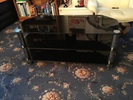 Black Glass TV Stand with 3 Shelves