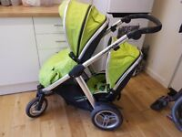 Oyster Max Double Buggy/Pram - Lime Green - used condition. The usual scratches etc...