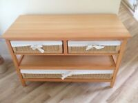 Pine Coffee/Conservatory/Hall Table with Wicker Drawers