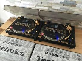 Technics SL 1200 GLD Pair – Mint Condition – Fully Boxed – Pair – Ortofon Gold - Lids 1210 MK2
