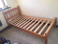 **IMMACULATE SOLID PINE SINGLE BED & MATTRESS FOR SALE - £30**