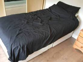 single bed with 2 drawers and mattress and protection