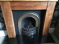 Victorian gas fire and solid wood surrond