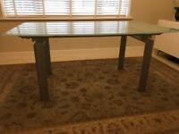 Dinning table, Glass top & extendable
