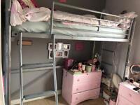 Silver metal high sleeper single bed frame