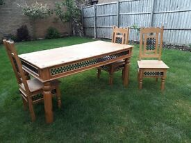 Rustic dining table and chair set