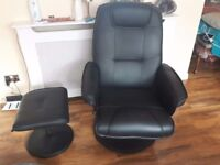 leather, recliner chair with foot rest