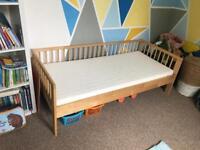 Ikea pine junior bed frame and foam mattress