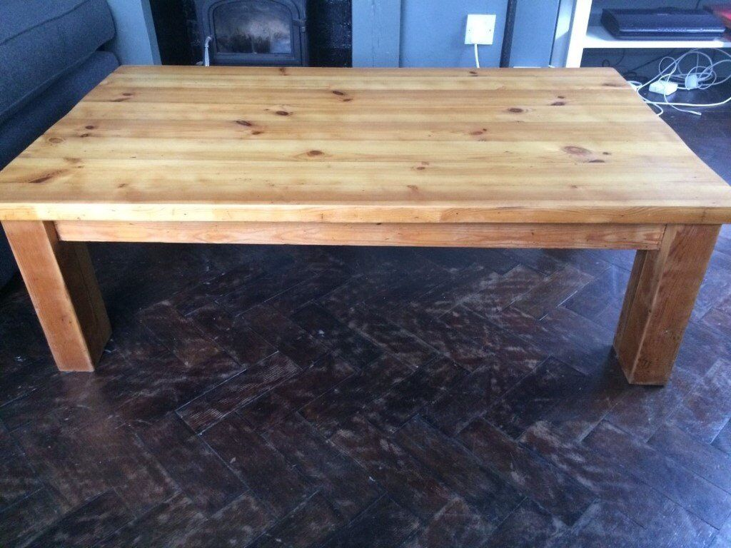 Lovely Large Hand Made Oiled Solid Pine Coffee Table