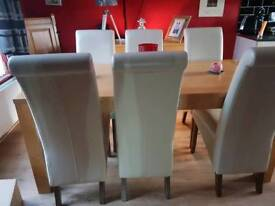 6ft dinning heavy chunky dining table an 6 cream chairs