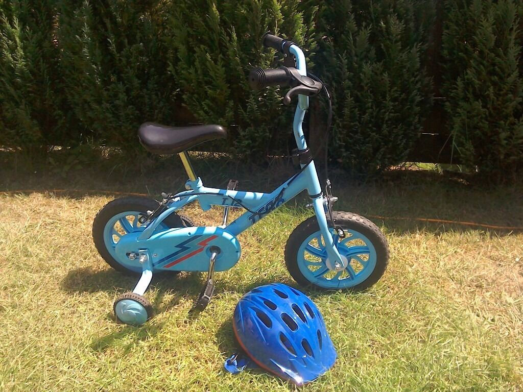Boys bike with helmet