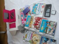 DS Nintendo Bundle (pink with 8 games, game holders x 3, bag, orginial box, lead & cloth etc )