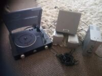 Gpo record player with silvercrest amplifier and speakers