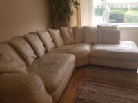 Cream leather sofa, used but still in good condition