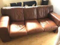 3 Seat Brown Leather DFS Italian Sofa in Marshfield, near Bath and Chippenham. Collection only.