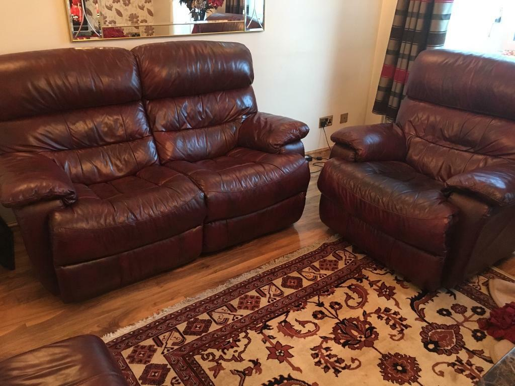 Leather Sofa 2 Seater Arm Chair All With Recliner In Mahogony Red In Stanmore London Gumtree