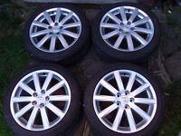 "Genuine Toyota Avensis 18"" Alloy Wheels, also fit Lexus RRP £1900 mint Dunlop tyres 225 45 18, 5x114"