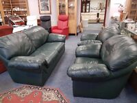 Quality green leather 3 seater sofa and 2 matching chairs